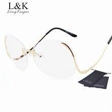 Long Keeper Rimless Sunglasses Ladies' Oversized Sun Glasses Retro Women Big Size Sunglasses Tint Lens Brand Designer Eyewares