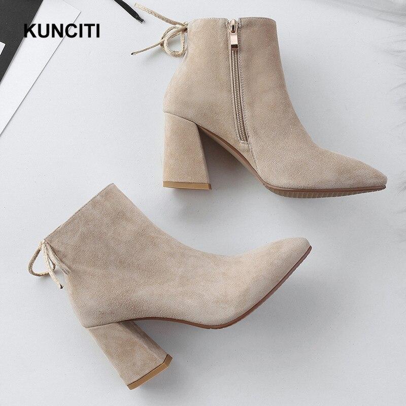 Black Daim Talon Bout Sexy Chaussons D120 Femmes Dames Haut 2018 apricot Classique Pointu Botas En Bottines Chaussures Cuir Chunky Kunciti Court Ewqqg6H