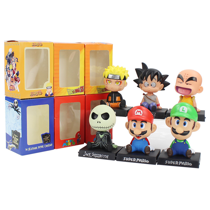 12cm Bobble Head Super Mario Naruto Jack Dragon Ball Z Son Goku Krillin Shake Head Phone Holder Phone Bracket PVC Action Figure