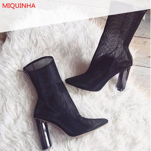 2676524a467 Sexy Black Mesh Perspex Heel Women Ankle Boots Summer Pointed Toe Clear  Lucite Block High Heels Zip Back Breathable Booties Shoe
