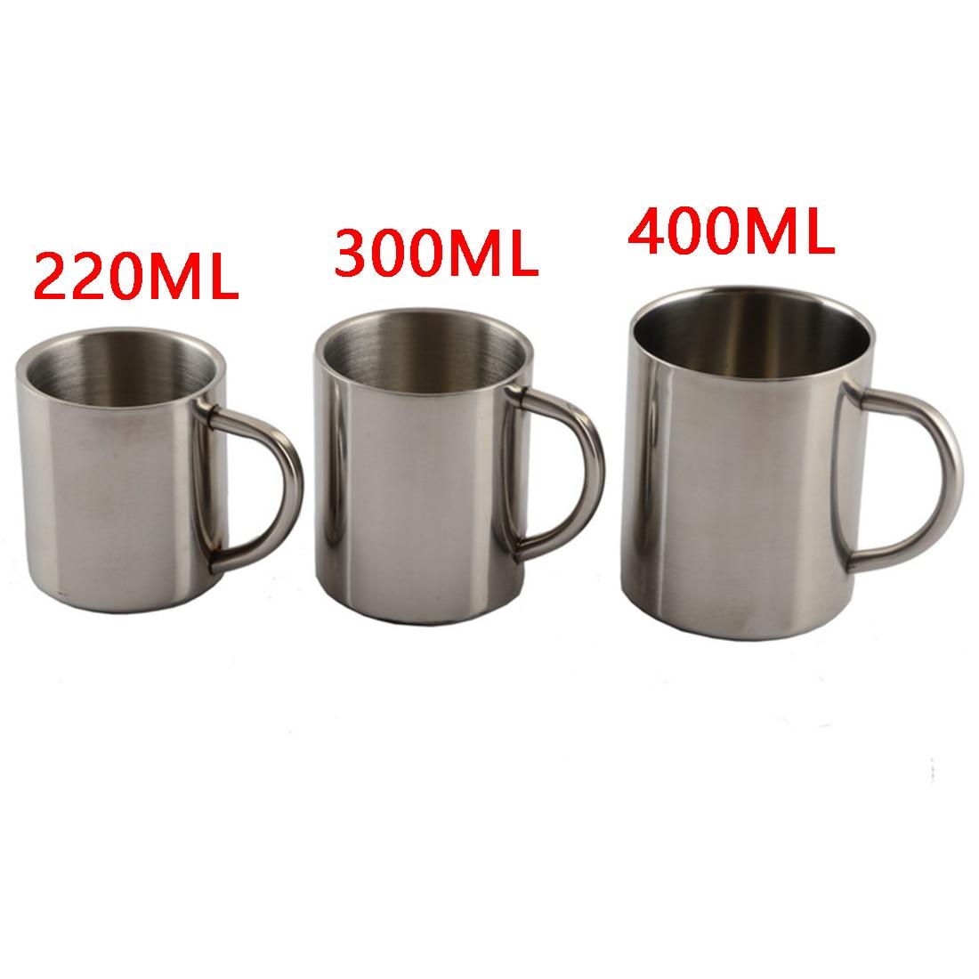 New Fashion 1pcs New 220ml 300ml 400ml Stainless Steel Portable Mug Cup Double Wall Travel Tumbler Coffee Mug Tea Cup cup