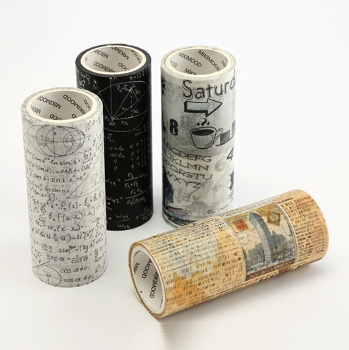 4Design 100mmx5m Burning Paper/Letter/Old Newspaper/Math Japanese Washi Decorative Adhesive DIY Masking Paper Tape Sticker Label