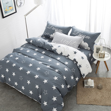 Grey color Star 100 Cotton Cute Bedding set Double Single size Queen size Bed Fit sheet