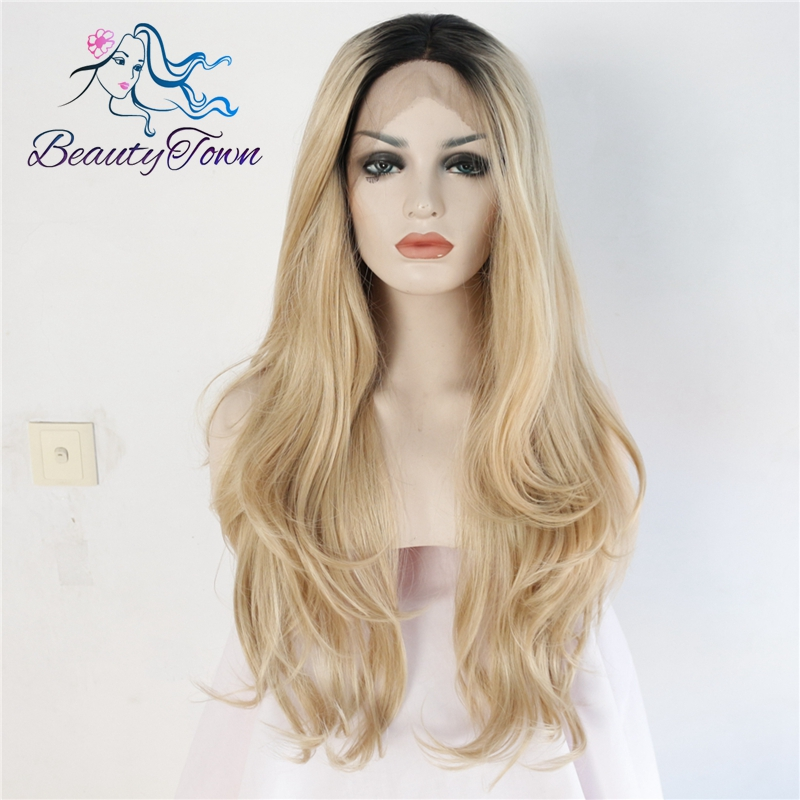 BeautyTown Black Omber Blond High Temperature Fiber Hair Natural Wavy Heat Resistant Glueless Synthetic Lace Front