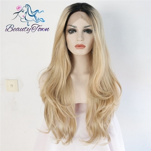 BeautyTown Black Omber Blond High Temperature Fiber Hair Natural Wavy Heat Resistant Glueless Synthetic Lace Front Daily Wig