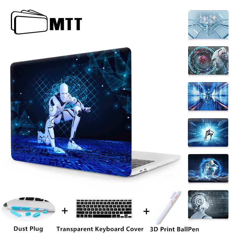 MTT Robot Print Case For Macbook Air 11.6 13 New Pro 13.3 15 With Touch Bar Hard Cover For Apple Mac book 12 inch Laptop Sleeve