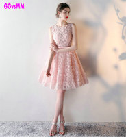 O Neck Lace A Line Pink Short Prom Dresses Custom Made Cheap Celebrity Party Gowns 2015