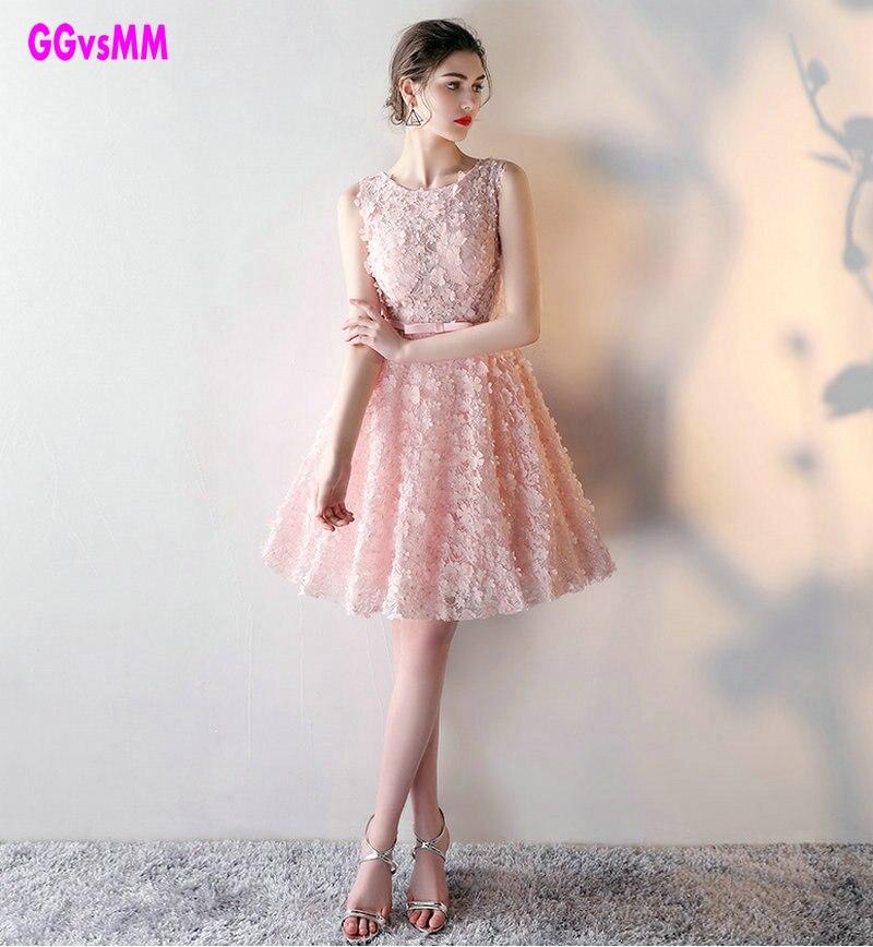 748e5fb8e20 GGvsMM O-neck lace A-line Pink Short Prom Dresses Custom Made Cheap  Celebrity Party Gowns 2018 Vestido De Renda gelinlik mariage