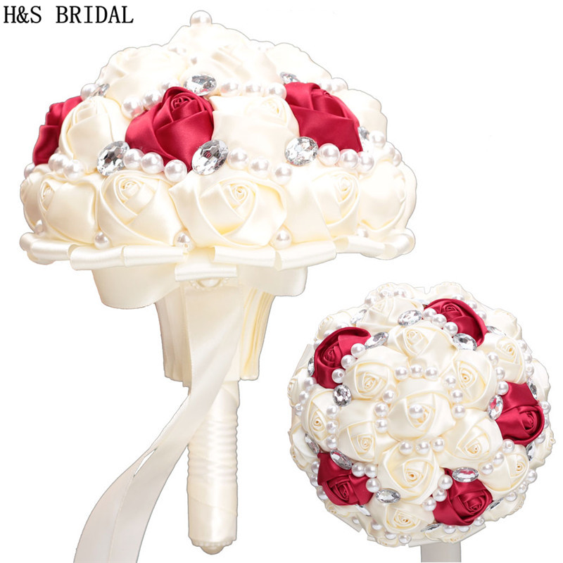 H&S BRIDAL Ivory Red Wedding Flowers Crystals Bridal Bouquets Artificial Wedding Bouquets Satin Ribbion Buque De Noiva 2019