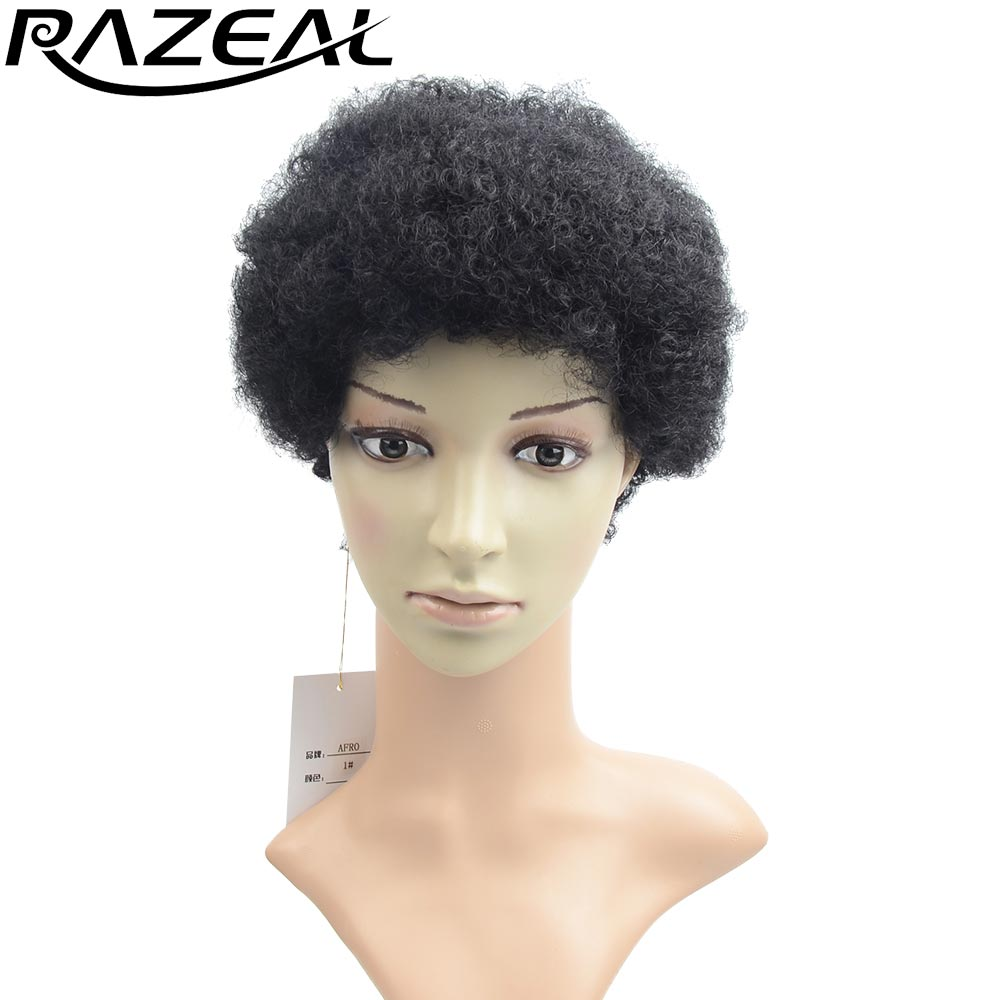 RAZEAL Short Hair Paryk Afro Kinky Curly Syntetisk Korta Parycker Perruque African American Women Free Shipping