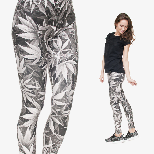 New Fashion Grey Leaf Weed  Leggings Digital 3D Leaf Printing Women Gray Leggings For Fashion Dress
