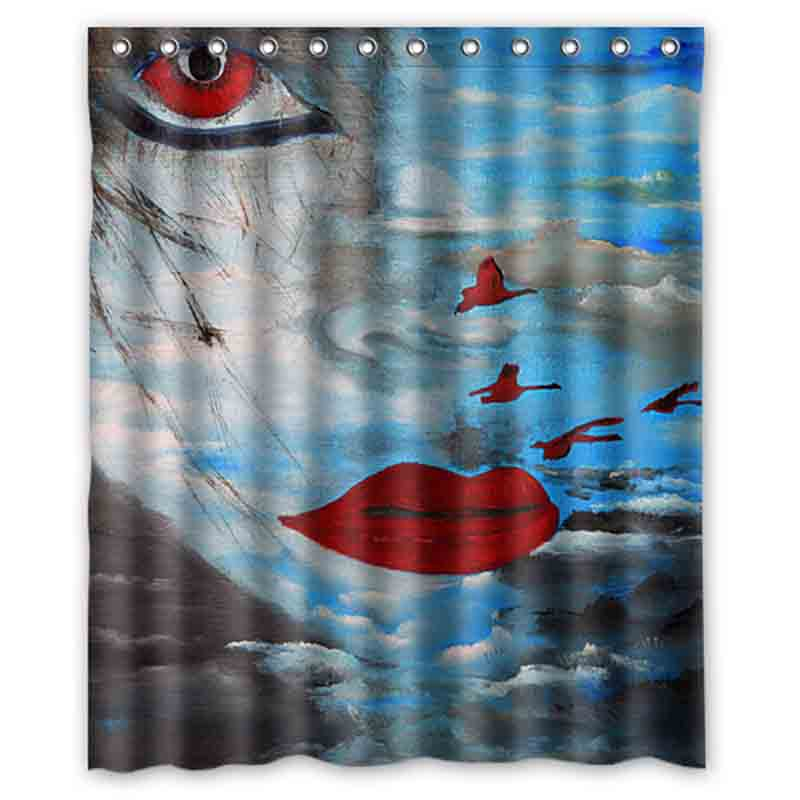 Sexy Red Lips Girl Yellow Feather Shower Curtains Custom Design Creative Curtain Bathroom Waterproof Polyester Fabric In From Home