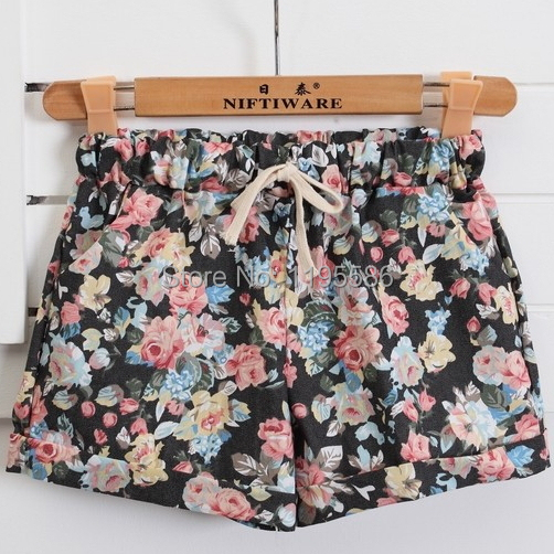 Women's  Elastic Waist Drawstring Cotton Floral Print Shorts