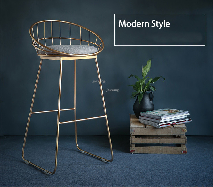 Современный простой барный стул из кованого железа, барный стул, золотой высокий стул, современный обеденный стул, железный стул для отдыха, скандинавский барный стул, трется