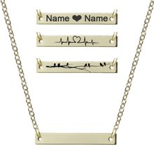 New Personalized Blank Bar Pendant Necklace Dainty Gold Custom Heartbeat Necklace Engraved Nameplate Word Charm Jewelry(China)