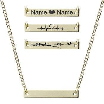6f5944617982 Nuevo personalizado en blanco colgante collar de oro de corazón collar  grabado Placa de joyería de encanto