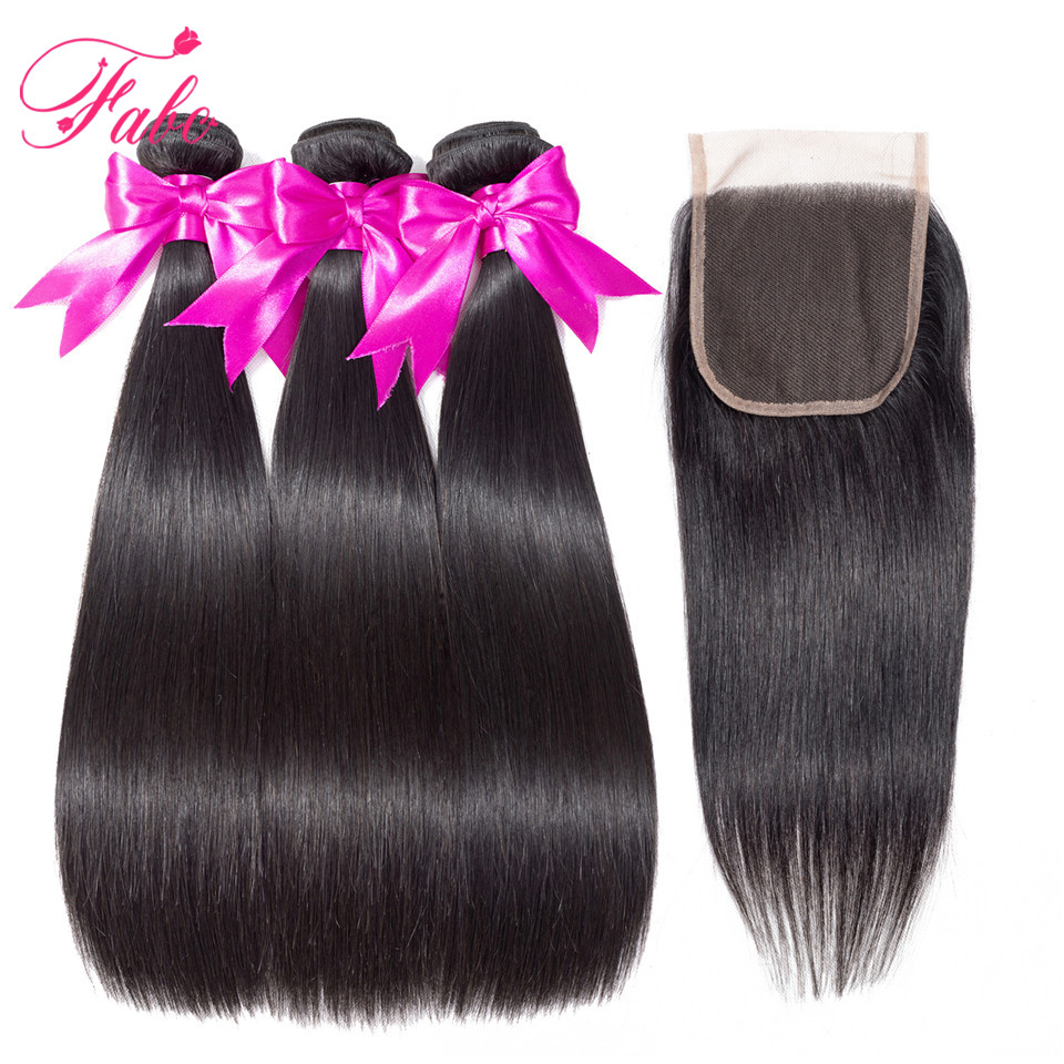 FABC Hair Brazilian Hair weave Bundles with Closure non remy straight hair 3 bundles with closure