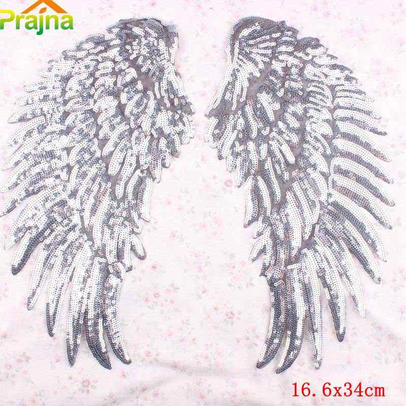 Prajna Sequin Patches Large Angel Wings Patch Badge Sew Iron On Cartoon Patches For Clothes Stickers Fabric Sewing Accessories