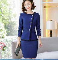Autumn Fmasuth Elegant Ruffle Office Uniform Skirt Suit Autumn Full Sleeve Blazer Jacket+Skirt 2 Pieces Female Work Skirt Suits