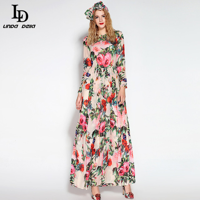 Long Sleeve Sequined Beading Rose Floral Bird Printed Long Dress With Scarf
