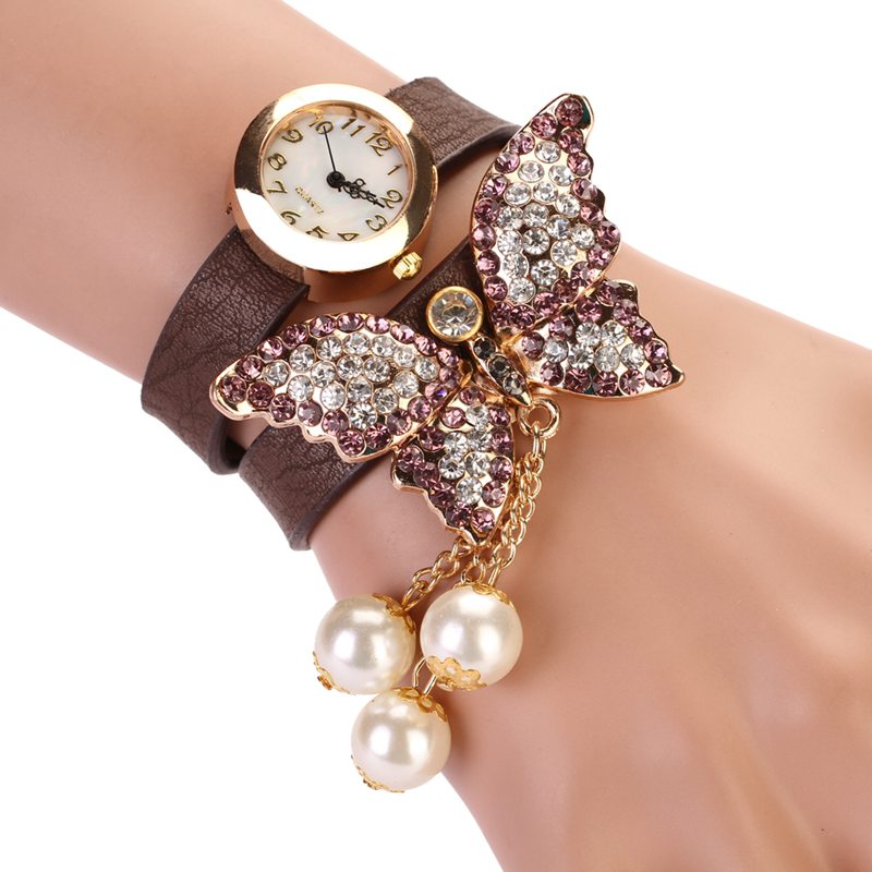 8 Colors New Fashion relogio feminino Casual PU Leather Wristwatch Women Bracelet Watch Butterfly Pendant Quartz Watches