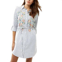 Women Vintage Striped Floral Embroidery Sashes Shirt Dress Long Sleeve Lapel Long Blouse Female Casual Streetwear