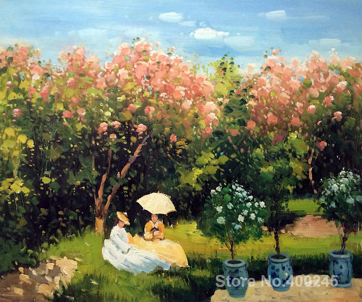 Christmas Gift art on Canvas The Garden by Claude Monet Painting High Quality Handmade