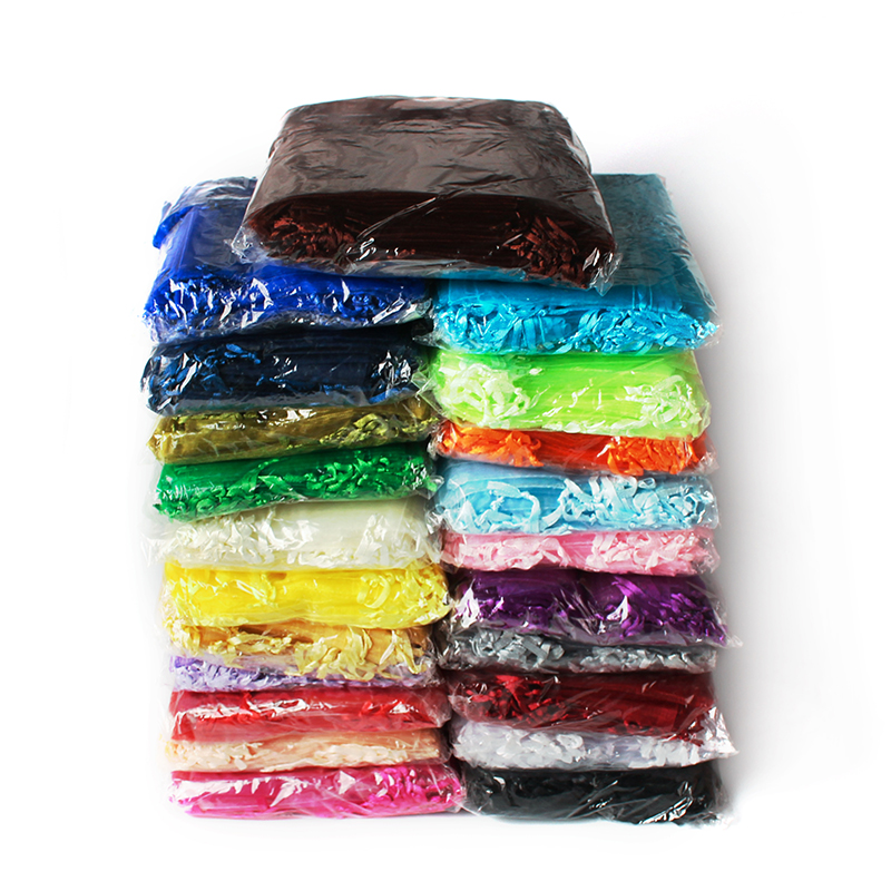 500Pcslot 7x9 9x12 10x15 13x18cm Organza Bags Wedding Party Jewelry Packaging Gift Bag For Girls Candy Bag Wholesale