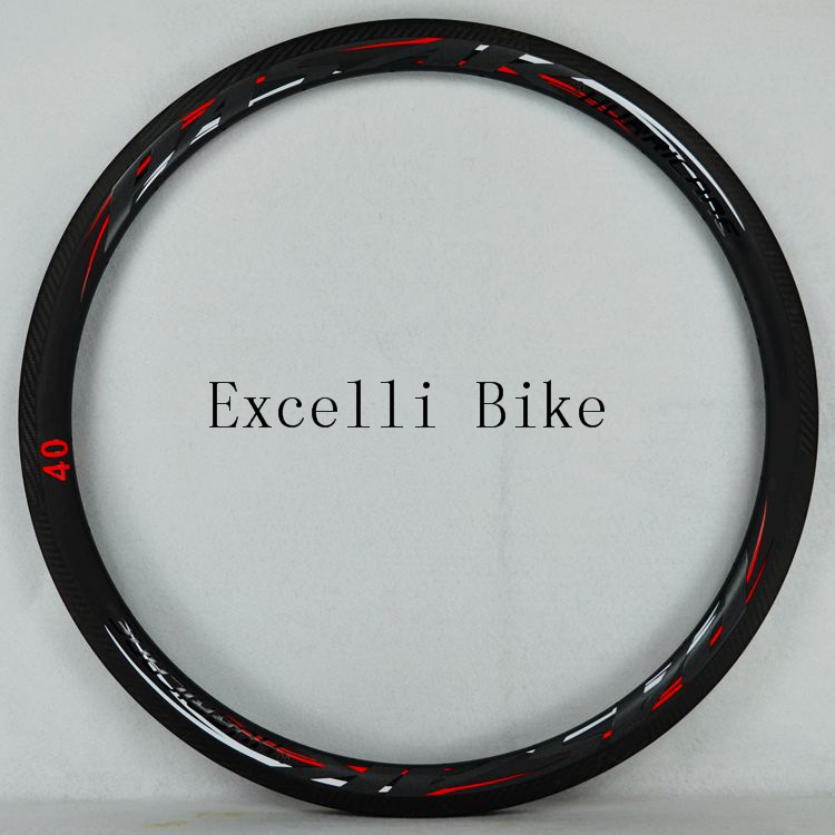700C Road Bike Carbon Knife Fat <font><b>Rim</b></font> Carbon Fiber Wheel Bicycle <font><b>Rim</b></font> <font><b>20</b></font>/24holes French valve Black red body Matte reflective lable image