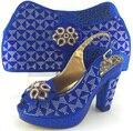 Mulheres africanas Sapatos E Bolsas Para Combinar Com Conjunto de Venda de Alta Qualidade Strass Mais Recente Sandália Sapatos Italianos Com Sacos de Harmonização!! MJY1-36
