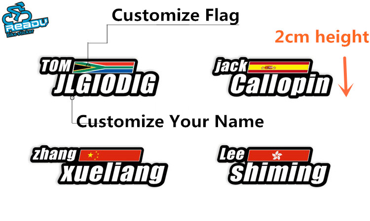Cycling Bicycle Stickers 2cm Height National Flag Personal Name Customization Tour De France ID Rider Decals NO.18 national flag made in japan car stickers exterior accessories window decals 12x7cm
