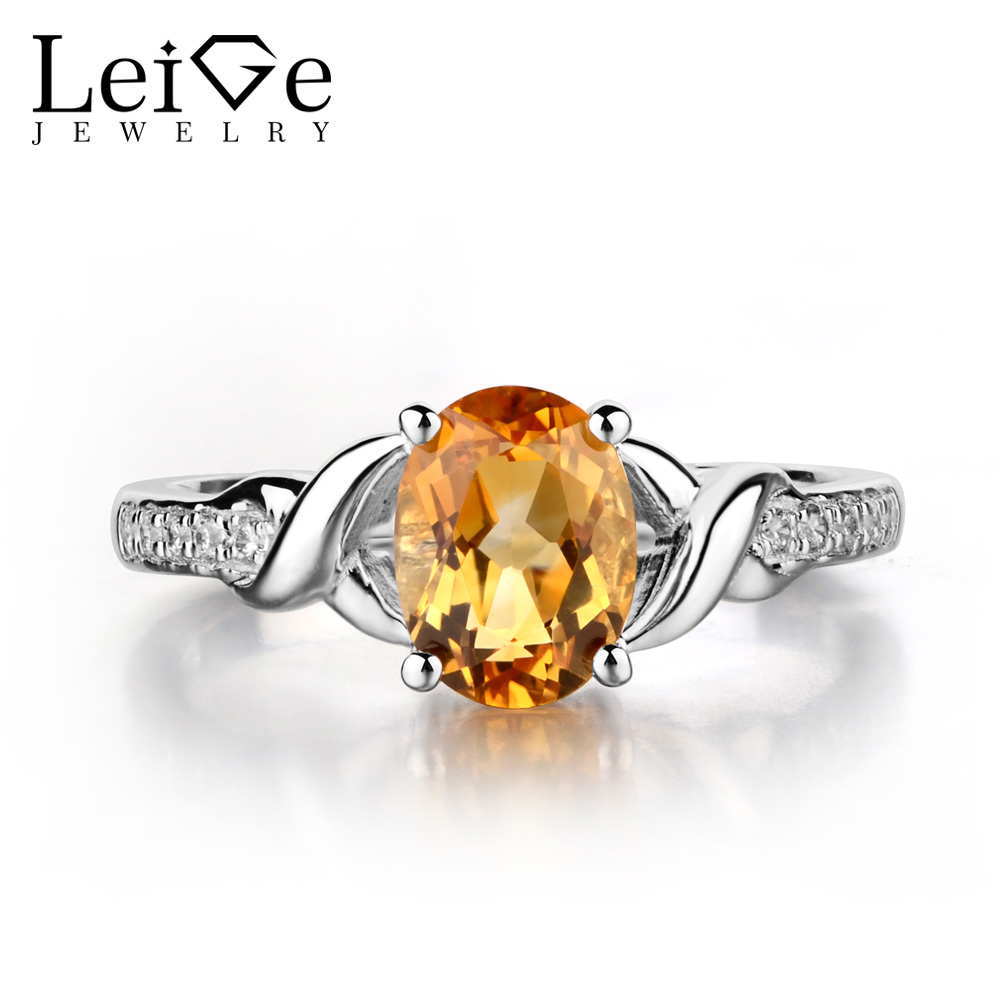 Leige Jewelry Oval Shaped Citrine Ring Yellow Gemstone Wedding Engagement Ring for Women 925 Sterling Silver
