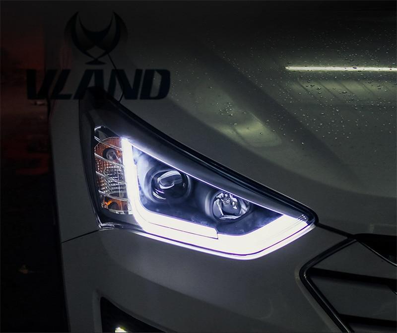 Free Shipping for Vland Car Styling Head Lamp for Hyundai IX45 Headlight LED Frontlight DRL H7 Xenon HID free shipping for vland factory for car head lamp for audi for a3 led headlight 2008 2009 2010 2011 2012 year h7 xenon lens