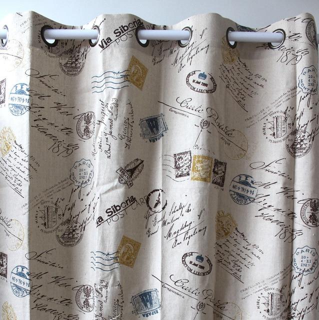 VEZO HOME Print Postmark Letters Yellow Linen Window Treatment Curtains Panel Door Bedroom Living Room Store