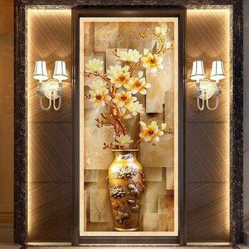 Custom 3D Murals Wallpaper For Living Room Entrance Corridor 3D Stereoscopic Relief European Magnolia Vase Wall Mural Wallpaper