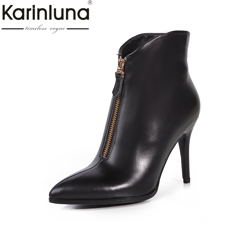 KarinLuna 2017 Large Size 33-43 Genuine Leather Pointed Toe Women Shoes Sexy Zip Up Thin High Heels Winter Add Fur Ankle Boots shoesofdream women s leisure 2015 opened pointed toe zip casual gladiator summer large size high heels eu size 34 46