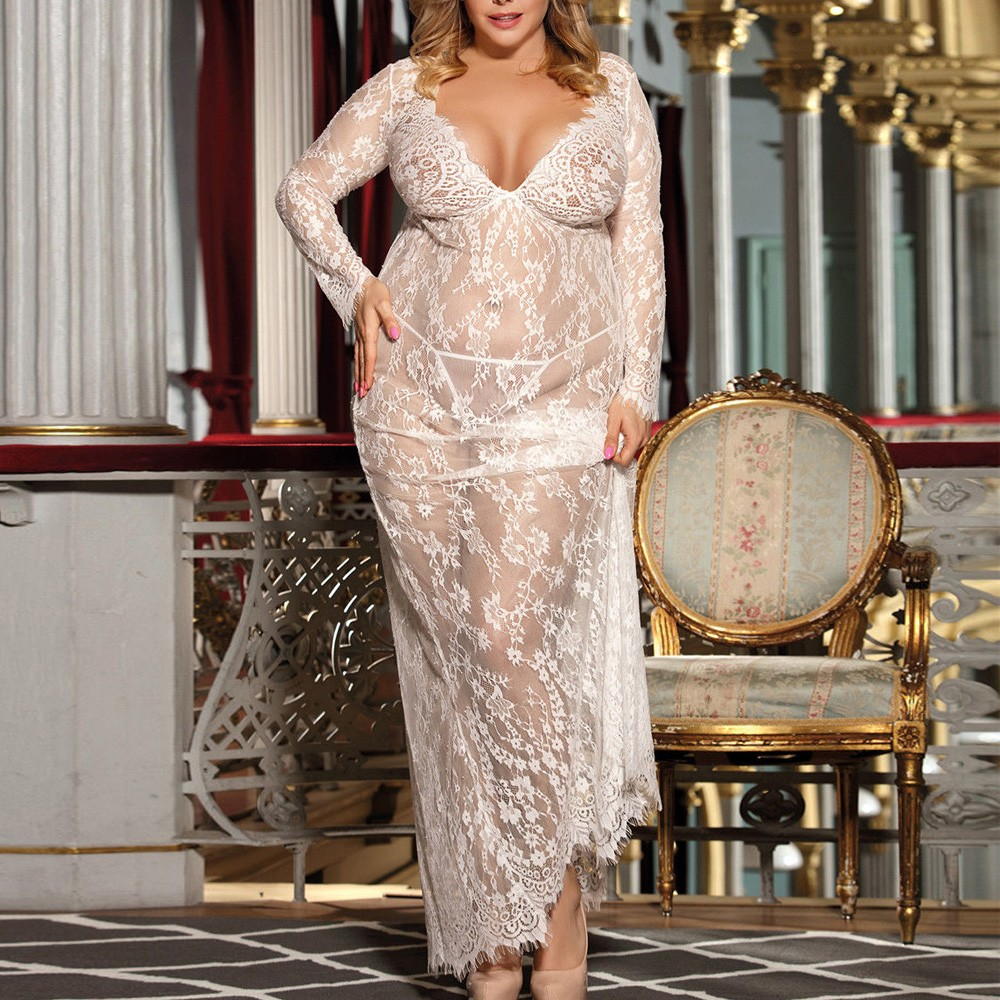 Plus Size 3XL See Through Sexy Lingerie Women Lace Long Babydoll Dress Sleepwear Underwear G-String Sheer Sleepwear Chemises