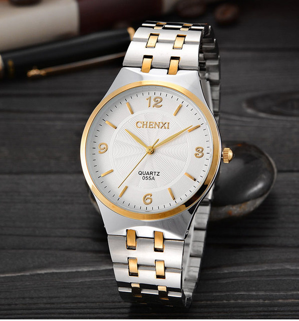 Fashion Chenxi 055a Brand Hot Golden Women Quartz Clock Female Rose Gold Steel W