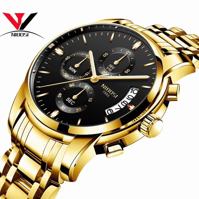 レロジオMasculino NIBOSI高級時計男性防水ゴールデンアナログクォーツ時計ドレスフルスチールファッションスポーツ時計レロジオアナログ時計