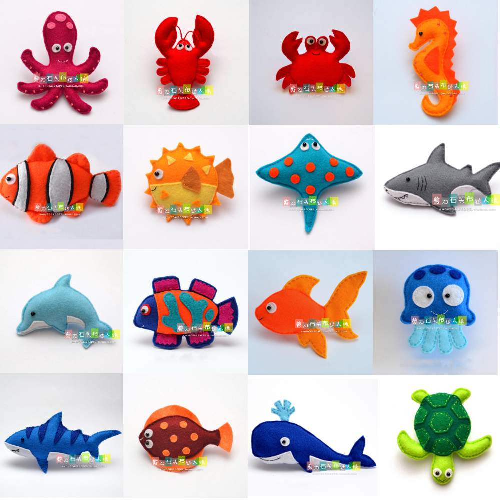 DIY Underwater World Marine Animals Fabric Felt Kit Non-woven Cloth Craft DIY Sewing Set Handwork Material DIY Needlework Suppl