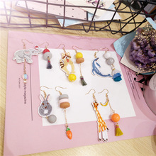 Korean Handmade Cartoon Elephant Dolphin Raccoon Rabbit Asymmetry Cute Woman Dangle Drop Earrings Fashion Jewelry-JQD5