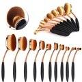 10pcs/set Rose Gold Toothbrush Shape Oval Makeup Brushes Tools Foundation Blusher Eyeshadow Eyeliner Face Soft Makeup Brushes