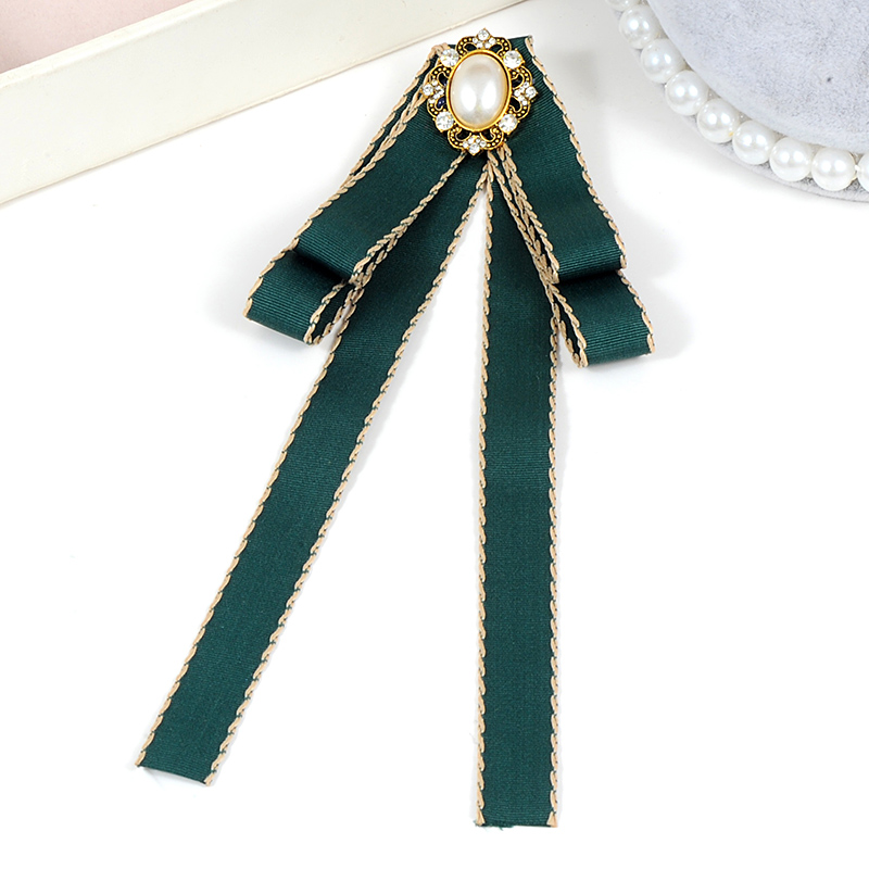 ZHINI Fashion Women Green pink Satin Ribbon Bow Tie Dress Collar Jewelry  Accessories Necktie Pin Bow-knot Shirt Tie Brooches Pin 50a13a5a928a