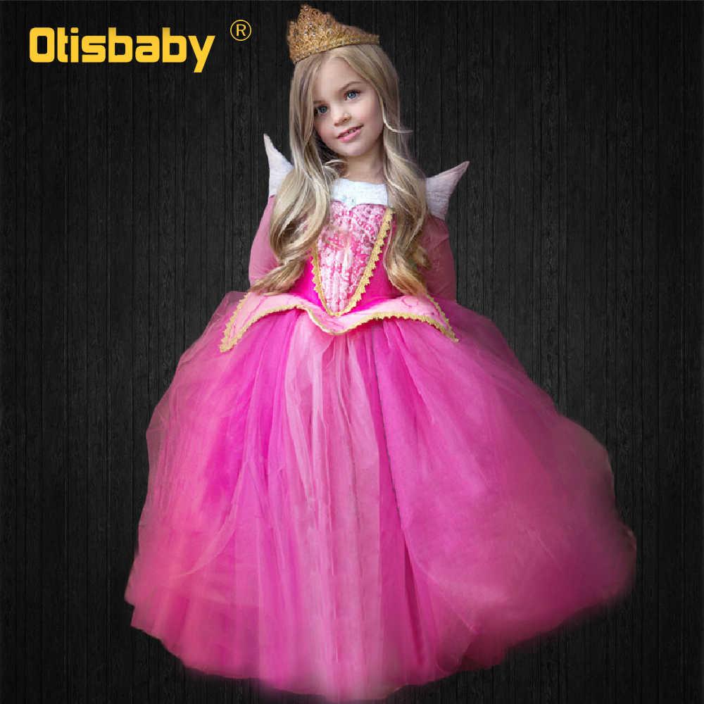 Halloween Trẻ Em Ngủ Vẻ Đẹp Trang Phục Cô Gái Ưa Thích Aurora Công Chúa Váy Bé Váy Vải Tuyn Dài Tay Áo Cô Bé Lọ Lem Fluffy Dresses