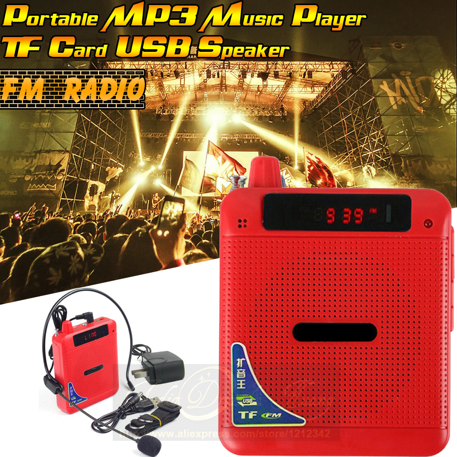 Free Shipping Portable FM Radio USB Loudspeaker With Microphone Voice Amplifier Megaphone Speaker For Tour Guide
