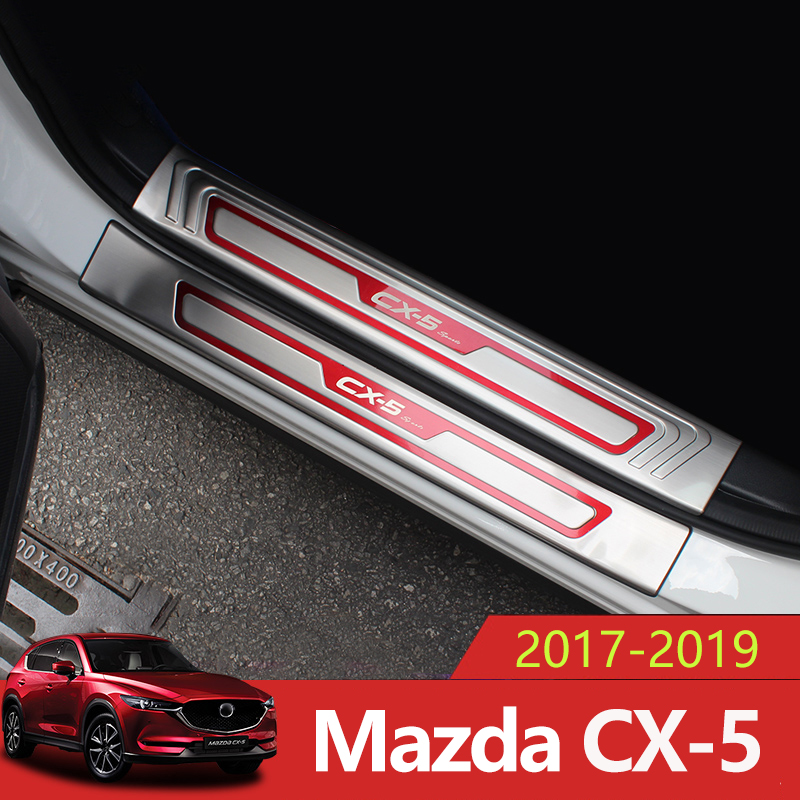 Stainless Steel Car Door Sill Scuff Plate Welcome Pedal Threshold Pedal Cover For Mazda CX-5 CX5 CX 5 2017 2018 2019 AccessoriesStainless Steel Car Door Sill Scuff Plate Welcome Pedal Threshold Pedal Cover For Mazda CX-5 CX5 CX 5 2017 2018 2019 Accessories