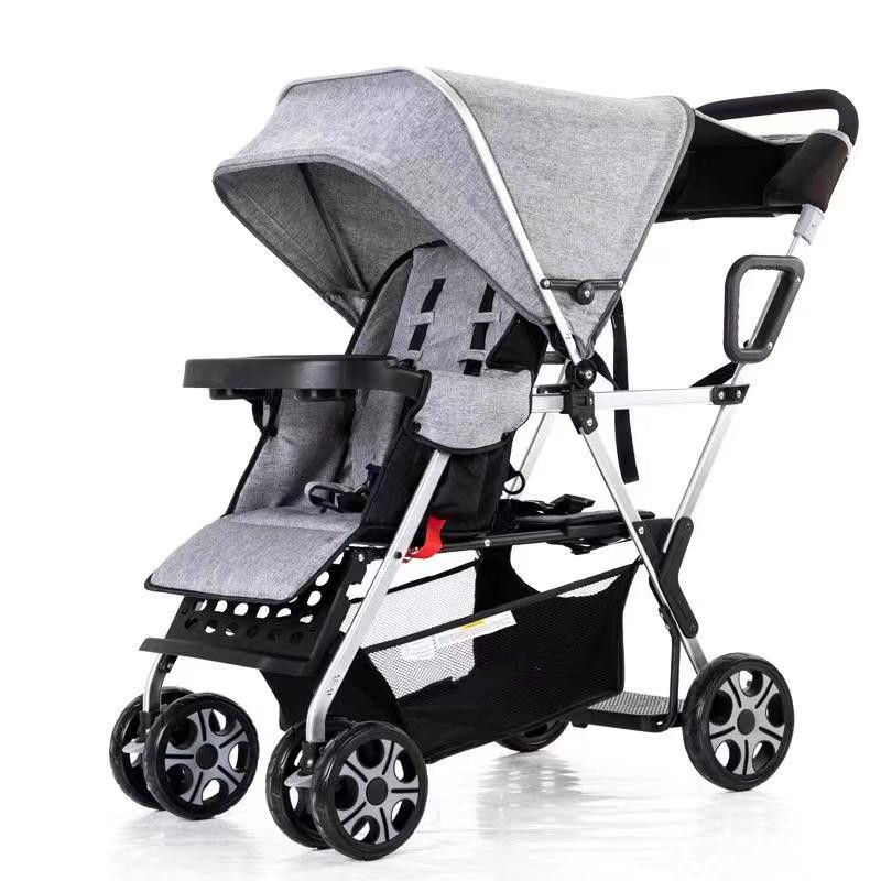 Urban Twin Carriage Stroller, Double Pushchair for Toddler Girls and Boys, Can Sit Can Lie Stable Stroller Frame with Bag