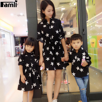 Famli 1pc Mom Son Dress Shirts Family Fashion Mother Daughter Dad Kid Matching Spring Autumn Full Sleeve Printed Dresses Outfits