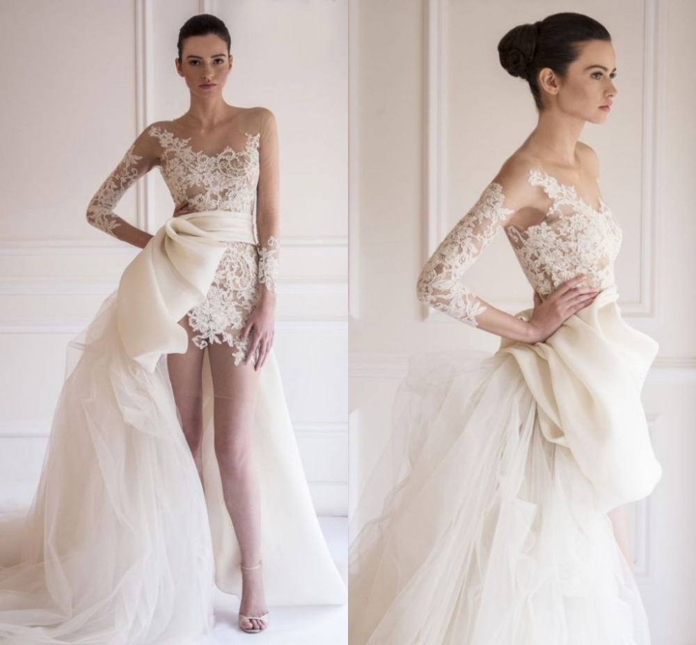 High End Royal High Low Organza Wedding Dress Long Sleeve Satin ...