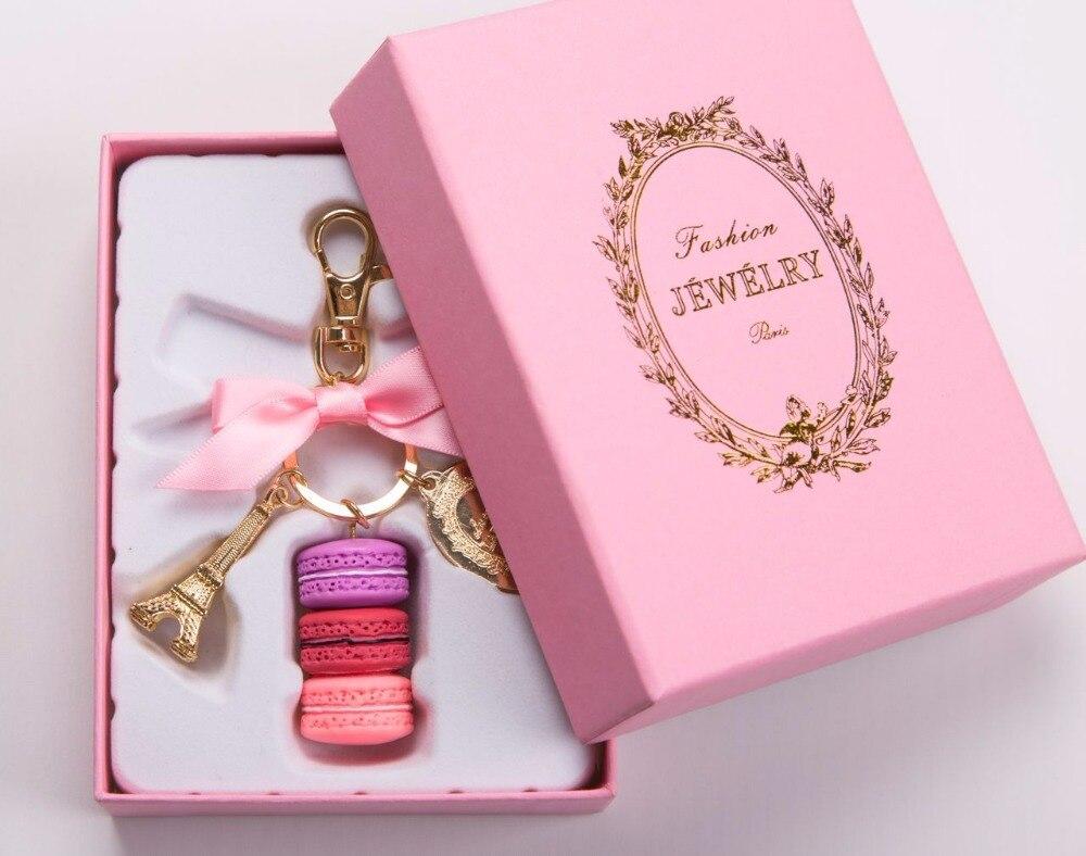 Keychains Effiel Tower Macarons Ribbon Woman Luxury Macarons Cake Keychain On Bag Charm Handbag Charms Car Keychain Gift Box